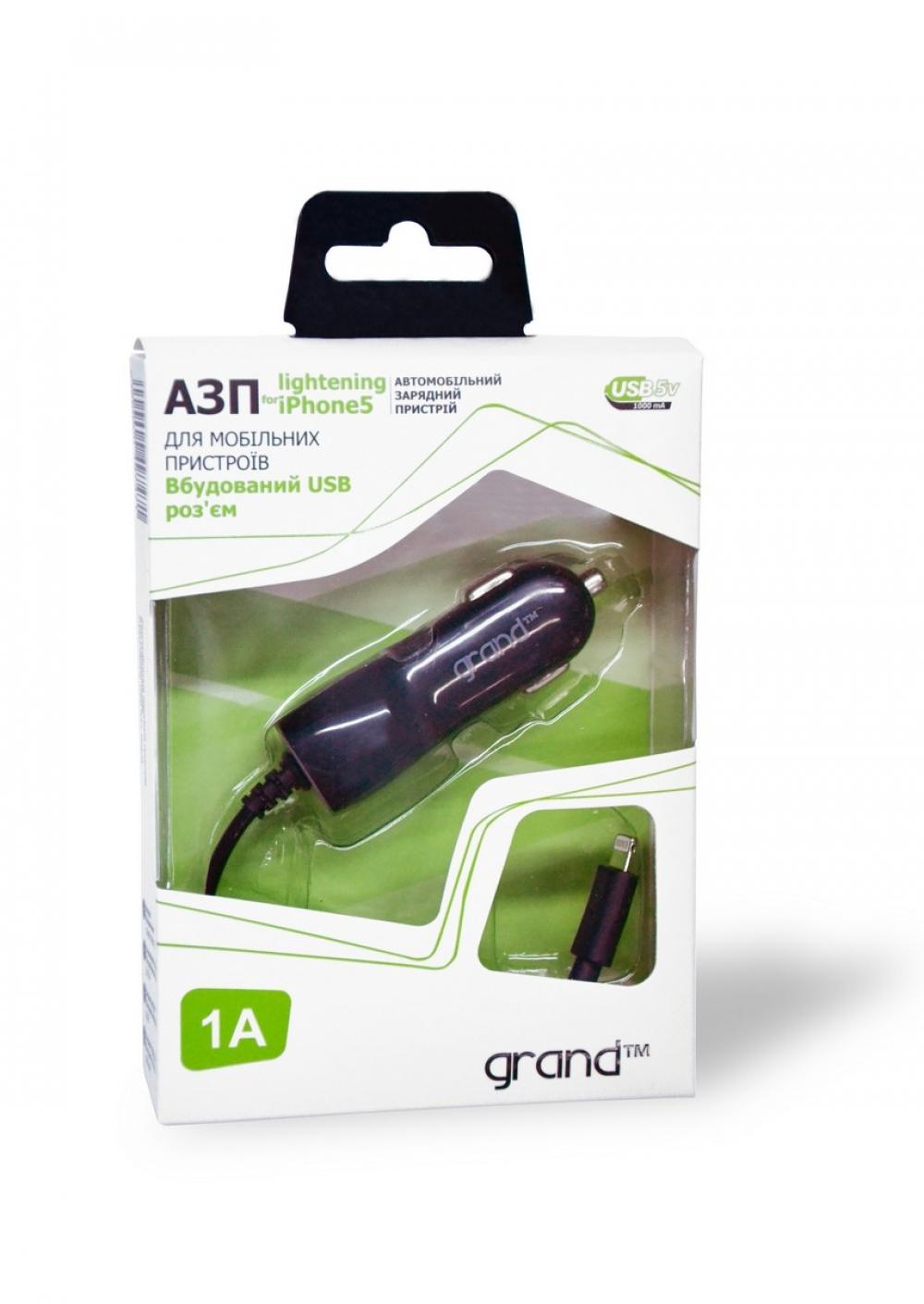 Автомобильное зарядное Grand iPhone 5 1000mah