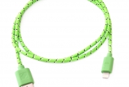 Кабель iPhone 5 в тканевой оплетке green