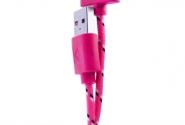 Кабель iPhone 4 в тканевой оплетке pink