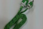 Кабель iPhone 4 в тканевой оплетке green без уп.