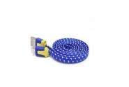 Кабель micro в тканевой оплетке blue без уп.