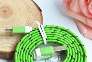 Кабель iPhone 5 в тканевой оплетке green без уп.