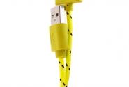 Кабель iPhone 4 в тканевой оплетке yellow